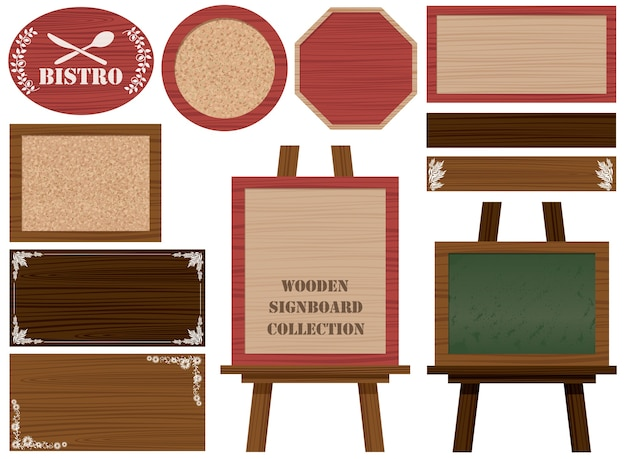 Set of wooden signboards and frames isolated on a white.