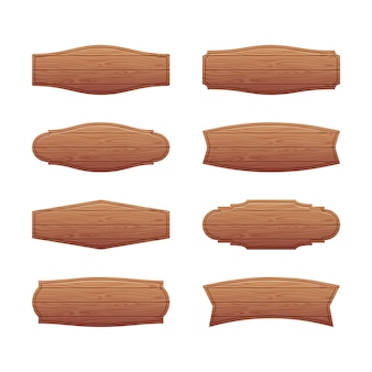 Set of wooden signboards