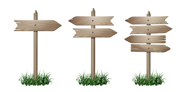 Set of wooden signpost