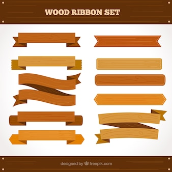 Set of wooden signs in flat design