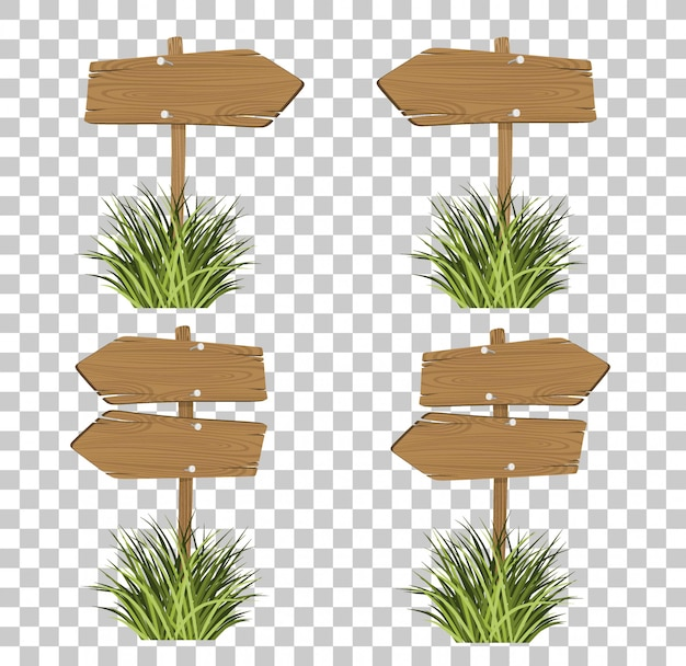 Set of wooden signs in a grass isolated