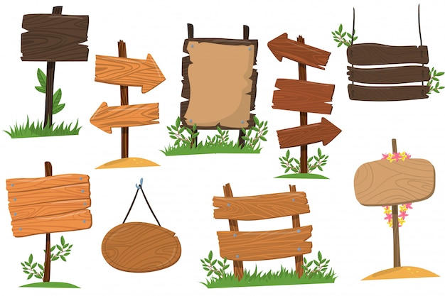 Set of wooden signs of various forms, tablets indicating index arrowhead way cartoon  illustrations isolated