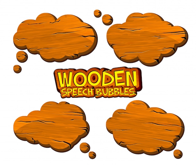 Set of wooden speech bubbles in comic book style. cartoonish wood