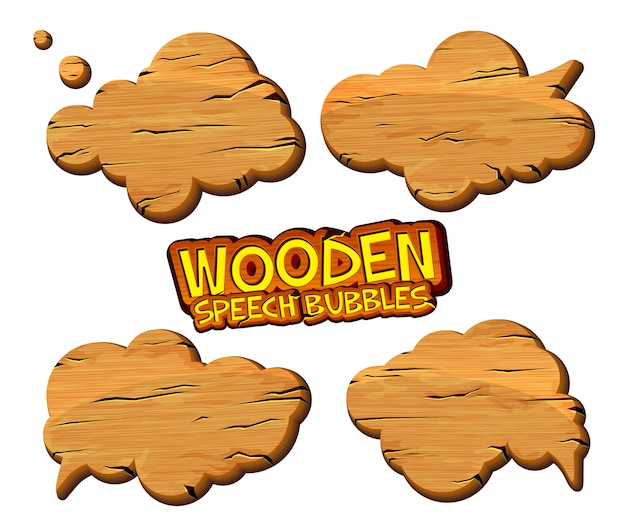 Set of wooden speech bubbles isolated