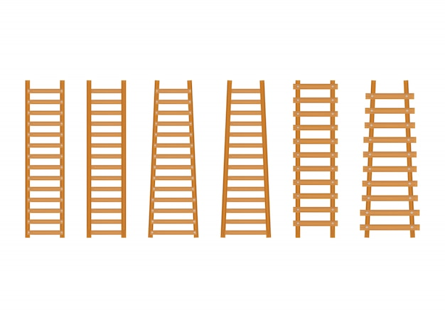 Set wooden step ladder