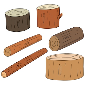 Set of wooden timber