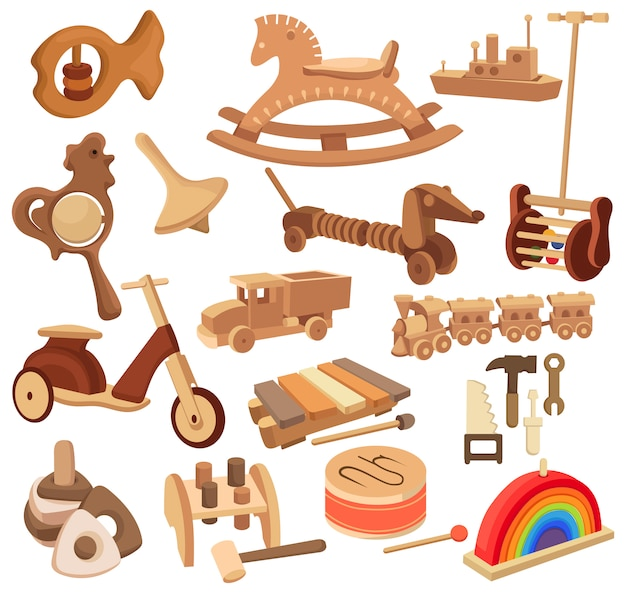 Set of wooden toys. collection of vintage toys and devices for children.