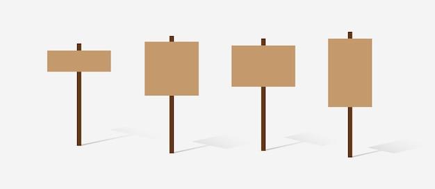 Set of wooden variation sign vector illustration