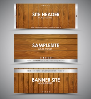 Set of wooden web banners