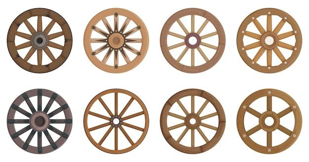 Set of wooden wheel isolated on white