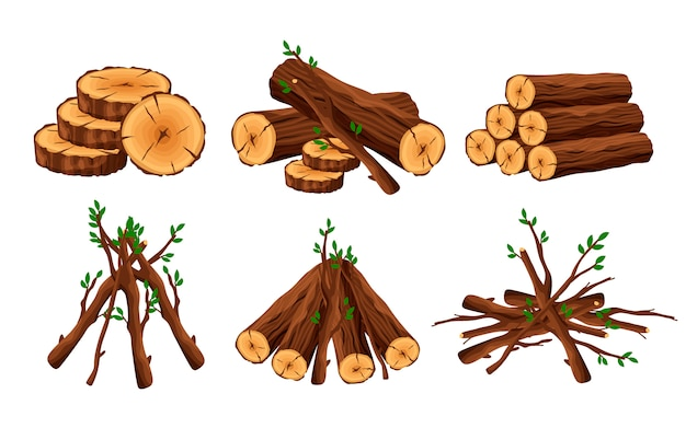Set of woodpile, brushwood, firewood hut, stacks wooden logs and branches isolated on white background. timber pile for bonfire design elements -flat illustration