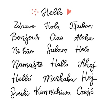 Set of word hello in different languages linear hand drawn calligraphy
