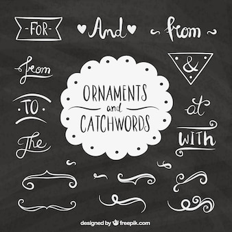Set of words and hand drawn ornamental elements