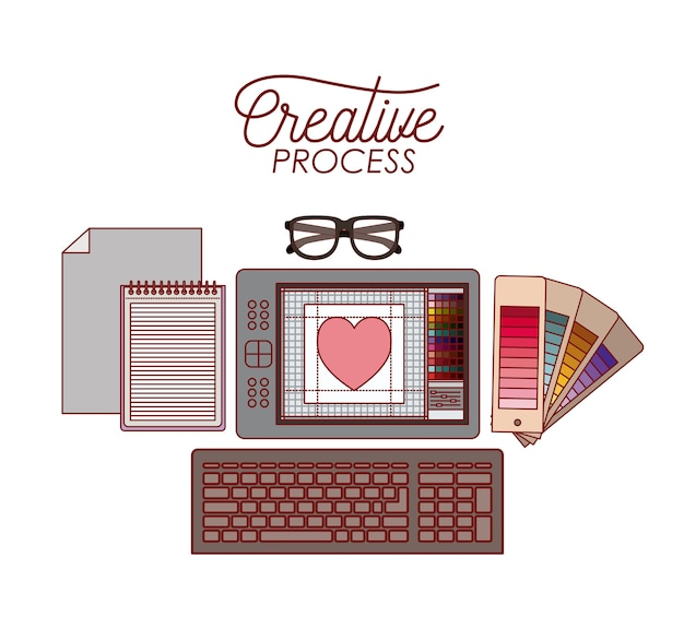 Set work elements for creative process for graphic design