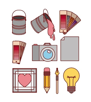 Set work elements for graphic design