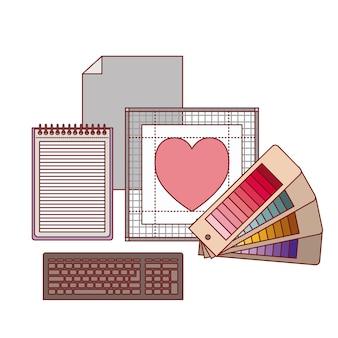Set work elements for graphic design