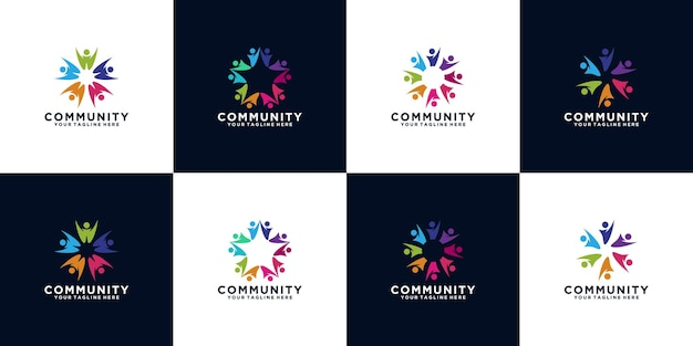 Set of work team logos with people spinning