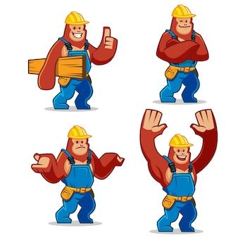 Set of worker gorilla mascot