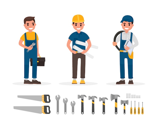 Set of worker and hand tool elements in flat style illustration.