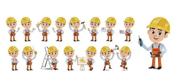 Set of worker with different emotion
