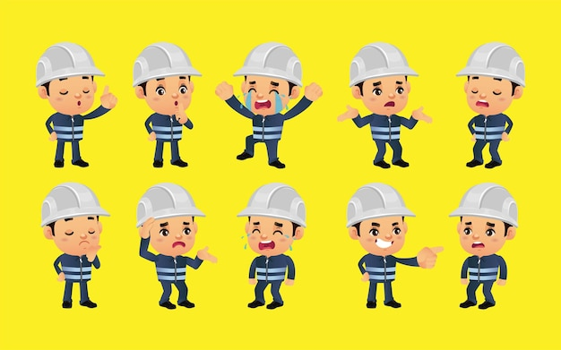 Set of worker with different emotions