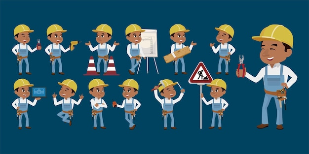 Set of worker with different poses