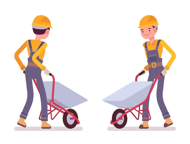 Set of workers with wheelbarrows