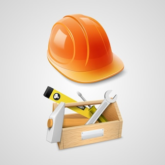 Set of working in 3d object. vector illustration