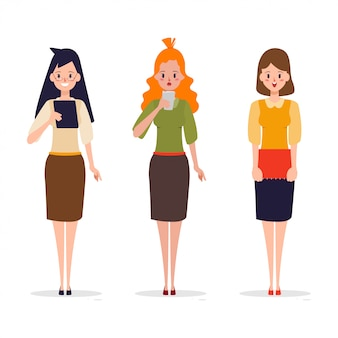 Set of working woman in different pose.