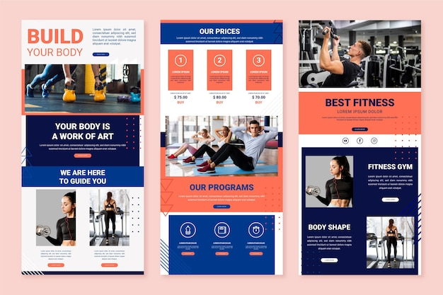 Set of workout email template