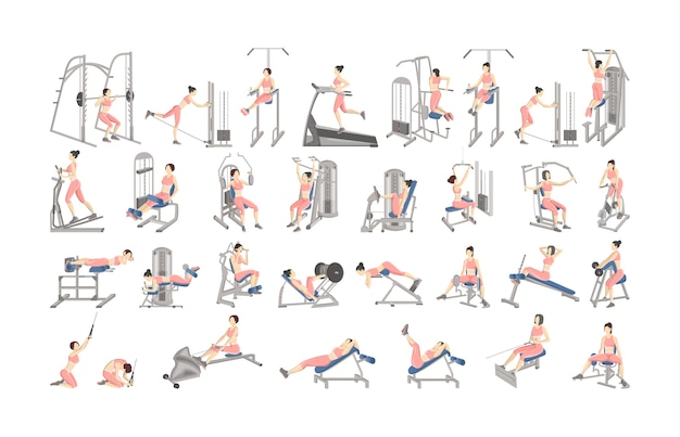 Set of workout for women on exercise machines. sport equipment for fitness. healthy and active lifestyle. isolated vector illustration