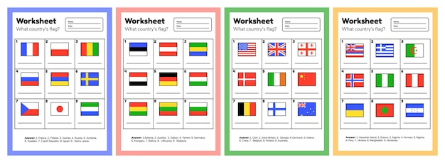 就学前および学校の子供たちの地理に関するワークシートを設定します。どの国の旗。答えあり。