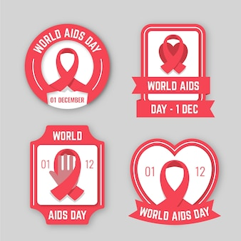 Set of world aids day badges