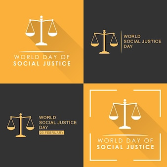 Set world day of social justice illustration template ddesign
