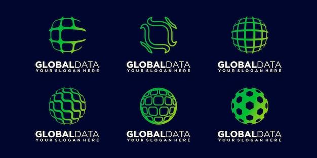 Set of world digital logo design vector template.