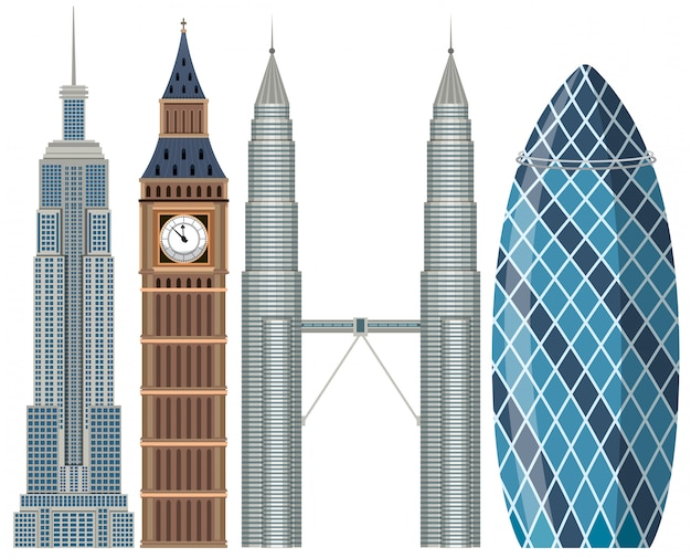 Set of world famous building