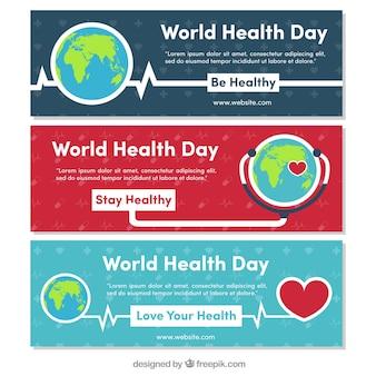 Serie di mondo bandiere giorno la salute