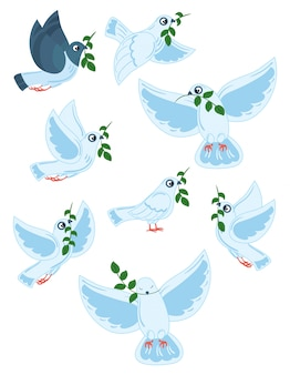 Set of world pigeons with a branch of an olive. collection of flying white doves.