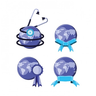 Set world planet earth and stethoscope