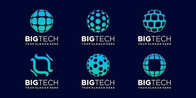 Set of world tech logo design vector template.