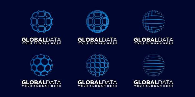 Set of world technology logo design vector template.