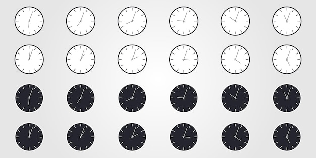 Set of world time. simple clock icons in flat style. vector design objects.
