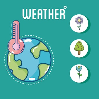 Set of world weather round icons collection