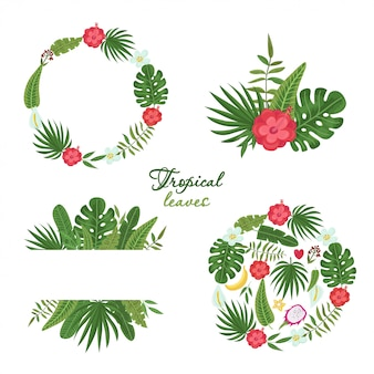 Set of wreath with colorful tropical leaves and flowers