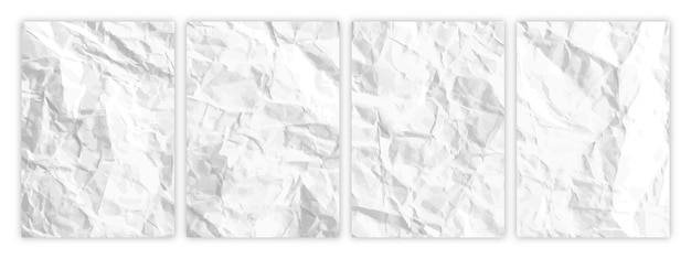 Set of wrinkled white paper in a4 format. crumpled empty sheets of paper with shadow for posters and banners. vector illustration