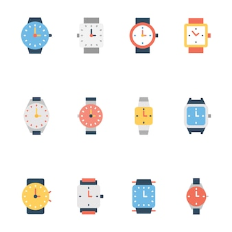 Set of wristwatch line icons