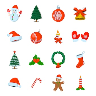 Set of xmas isolated icon. cartoon style. vector illustration for christmas day.