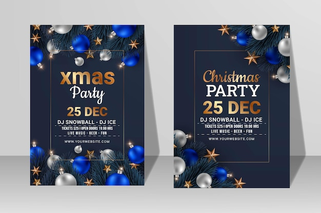 Set of xmas party flyer or poster template design