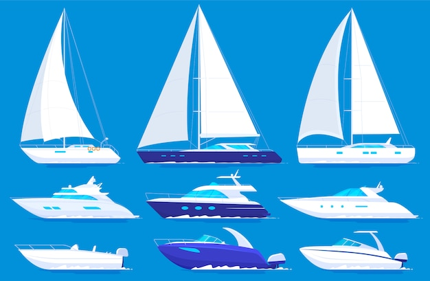 Set of yachts and boats