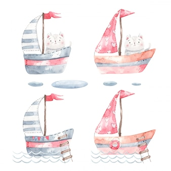 A set of yachts, ships, sailboats with a cat inside, rides on the waves, design for children's rooms and for printing invitations, decor, stickers